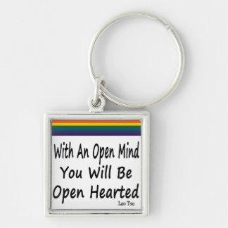 Con una mente abierta usted será Hearted abierto Llavero Cuadrado Plateado