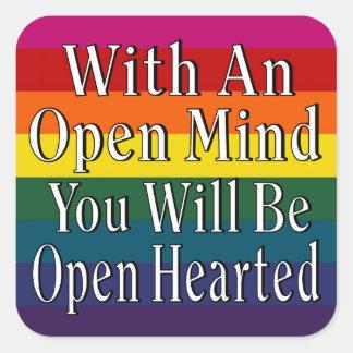 Con una mente abierta usted será Hearted abierto Calcomania Cuadrada Personalizada