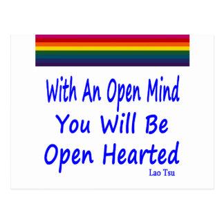 Con una mente abierta usted será Hearted abierto Tarjeta Postal