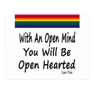 Con una mente abierta usted será Hearted abierto Postales