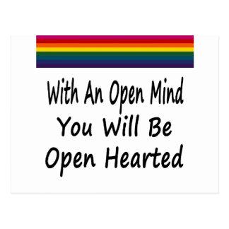 Con una mente abierta usted será Hearted abierto Tarjetas Postales