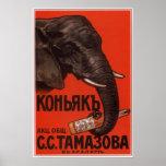 Coñac del imperio ruso que hace publicidad de 1900 poster