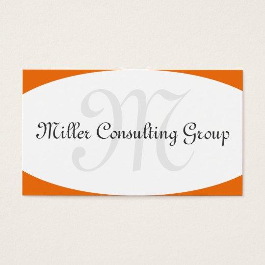 Concave Monogram Orange Business Cards