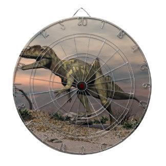 Concavenator dinosaur in the desert dartboard with darts