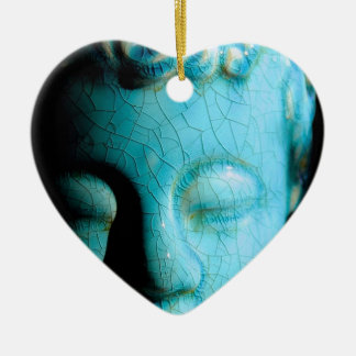 Concentrate the Mind Double-Sided Heart Ceramic Christmas Ornament