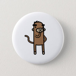 Concentrating Monkey Pinback Button