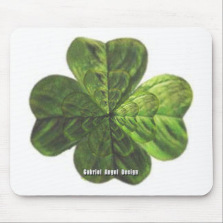 Concentric 4 Leaf Clover Mouse Pad