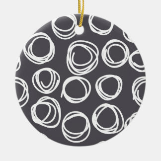 Concentric Abstract Circles Double-Sided Ceramic Round Christmas Ornament