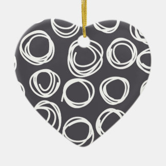 Concentric Abstract Circles Double-Sided Heart Ceramic Christmas Ornament