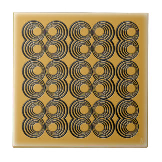 Concentric Black Circles over Harvest Gold Ceramic Tile
