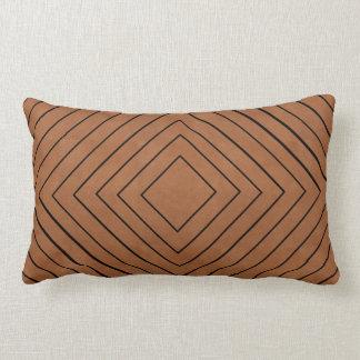 Concentric Black Squares on Tan Leather Look Lumbar Pillow