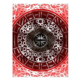 Concentric Circles African Tribal Print red ombre Postcard