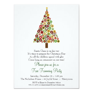 Concentric Circles Christmas Tree Party Invitation
