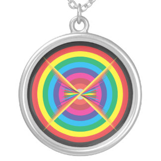 concentric circles colored target. round pendant necklace