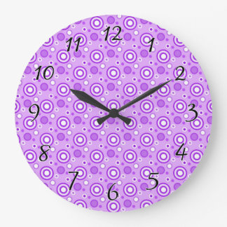 Concentric Circles in Purple Large Clock