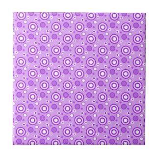 Concentric Circles in Purple Small Square Tile