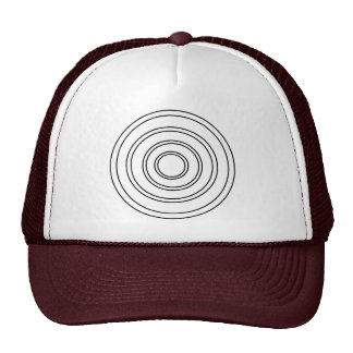 Concentric Circles Trucker Hat White and Maroon