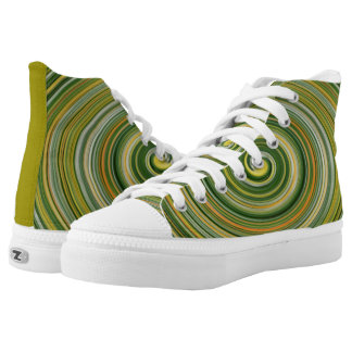 CONCENTRIC CIRCLES /VARIOUS COLORS/GREEN DOMINANT High-Top SNEAKERS