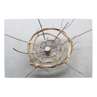 Concentric Circles Wood & Vine Centered Metal Print