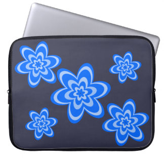 Concentric flowers in blue laptop sleeve