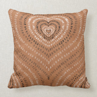 Concentric Hearts black and white dots Throw Pillow