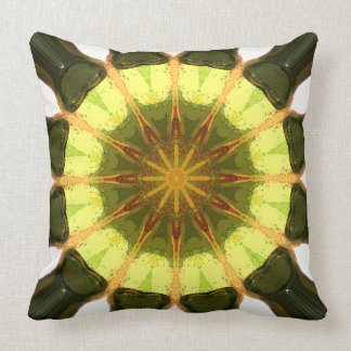 Concentric Lemon Lime Abstract Throw Pillow