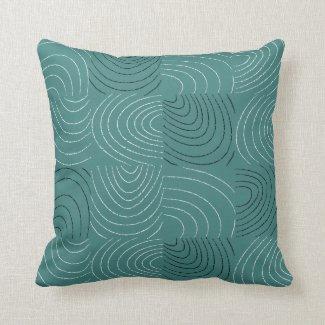 Concentric Ovals Blue-Green Patchwork Pillow