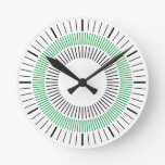 Concentric Rays - Green Round Wall Clocks
