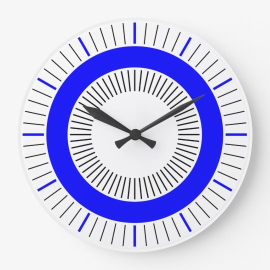 Concentric Rays - Solid Blue Large Clock