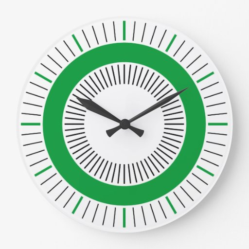 Concentric Rays - Solid Grass Green Clock