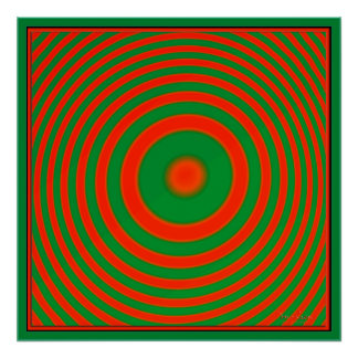 Concentric Red Green Circles Print