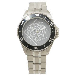 concentric rotated squares - grey - white wristwatch