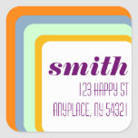 Concentric Squares Pattern Sticker Label