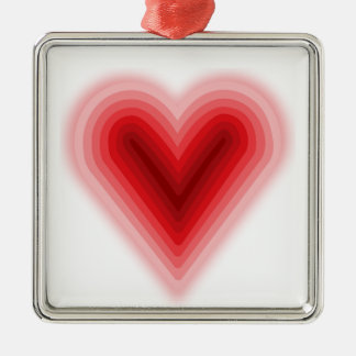 Concentric Valentine's Day Heart with Gradient Square Metal Christmas Ornament