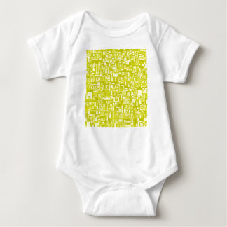 Concentric Yellow Geometric Abstract Art Baby Bodysuit