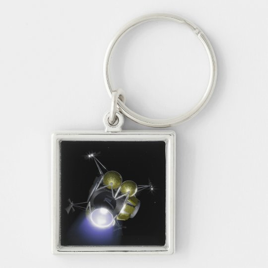 Concept of a crew blasting off keychain