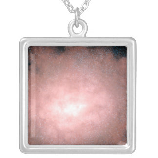 Concept of what a dusty and bright galaxy square pendant necklace