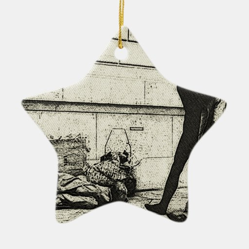 concept  overcome your bad thoughts sketch Double-Sided star ceramic christmas ornament