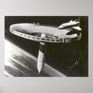 Concepto 1977 de la estación espacial de la NASA Póster