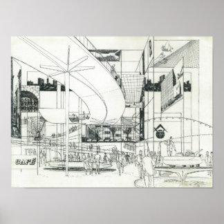 Concepto aéreo de la aguja del espacio que dibuja  póster