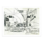 Concepto aéreo de la aguja del espacio que dibuja  tarjeta postal