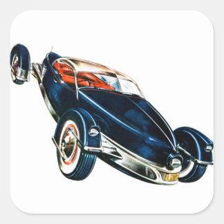 Concepto auto clásico de Tucker del coche del Pegatina Cuadrada