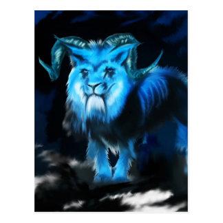 Concepto azul de la criatura postales