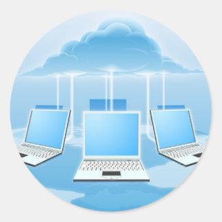 Concepto computacional de la nube pegatina redonda