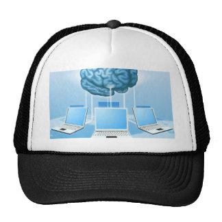 Concepto computacional del cerebro del ordenador gorros