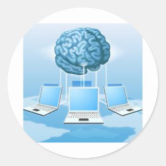 Concepto computacional del cerebro del ordenador pegatina redonda