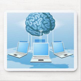 Concepto computacional del cerebro del ordenador tapetes de ratón