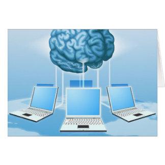 Concepto computacional del cerebro del ordenador tarjetón