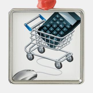 Concepto de contabilidad en línea adorno navideño cuadrado de metal