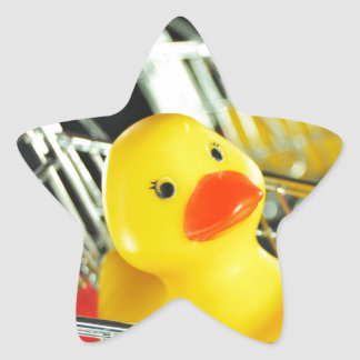 Concepto de goma de las compras del bebé del pato colcomanias forma de estrellas